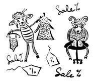 图画图片动画片、丈夫和妻子,与一只绵羊的一只绵羊在服装店,尝试在羊毛礼服的绵羊  免版税库存照片