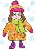 图画女孩开玩笑冬天 库存例证
