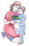 图画母亲儿子 免版税库存照片