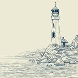 图画灯塔 免版税库存照片