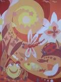 图画蝴蝶、蜻蜓和花荷花 库存照片