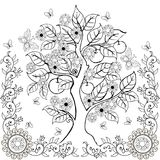 图画递与花和苹果的树 春天 成人彩图 向量例证