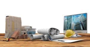 图纸、个人计算机和水泥袋子 免版税图库摄影