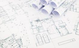 图纸、楼面布置图和房子计划 库存图片