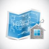 图纸和家庭例证设计 库存照片