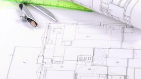 图纸和建筑学对象全景