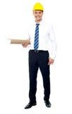 图纸土木工程师藏品 免版税图库摄影