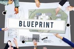 图纸工艺建筑学设计想法修建概念 免版税库存照片