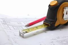 图纸建筑工具 免版税库存照片