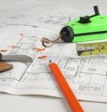 图纸房子计划 库存图片
