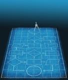 图纸流程图管理计划进程 免版税库存照片