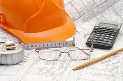 图纸设计工具 免版税库存照片