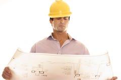 图纸设计规划读取 免版税图库摄影