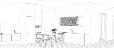 图纸项目最低纲领派白色厨房草稿、剪影有饭桌的和镶花地板,丝带窗口,室内设计 向量例证
