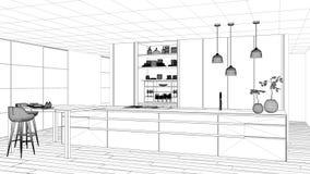 图纸项目草稿、最低纲领派厨房、海岛、桌、凳子和开放内阁有辅助部件的,窗口,竹子,水耕 向量例证