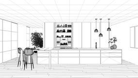 图纸项目草稿、最低纲领派厨房、海岛、桌、凳子和开放内阁有辅助部件的,窗口,竹子,水耕 库存例证