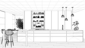 图纸项目草稿、最低纲领派厨房、海岛、桌、凳子和开放内阁有辅助部件的,窗口,竹子,水耕 皇族释放例证