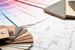 图纸颜色指南材料范例 免版税库存照片