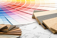 图纸颜色指南材料范例 免版税库存图片