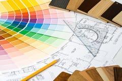 图纸颜色指南材料范例 库存照片