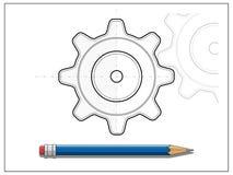 图纸齿轮和铅笔传染媒介例证 库存照片