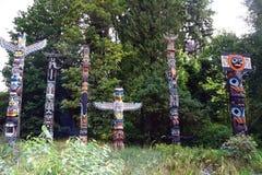 图腾柱在Stanely公园,温哥华 库存照片