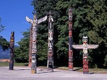 图腾柱,斯坦利公园,温哥华。 库存照片