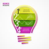 图表、图、图和其他infographics的电灯泡传染媒介infographic模板 库存照片