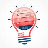 图表、图、图和其他infographics的电灯泡传染媒介infographic模板 免版税库存照片