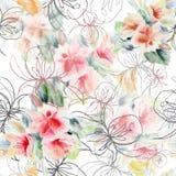 图表上升了与水彩在白色背景的花束花 无缝花卉的模式 库存照片
