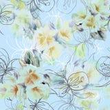 图表上升了与水彩在蓝色背景的花束花 无缝花卉的模式 免版税库存照片