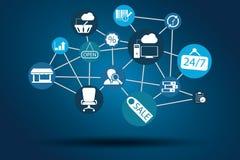 图表传染媒介网络工作、互联网、网和企业蓝色 免版税库存图片