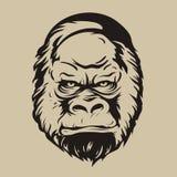 图表印刷品,大猩猩面孔的剪影 库存照片