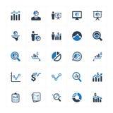 图表和图Icons_蓝色版本设置了1 向量例证