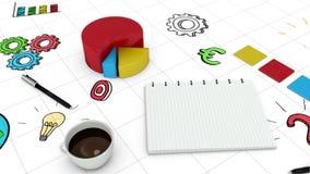图表和笔记本的数字式动画 影视素材