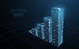 图表增长 在深蓝背景的低多wireframe滤网 成功、成就和企业标志,例证或 图库摄影