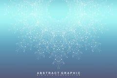 图表抽象背景通信 大数据形象化 与小点的被连接的线 社会网络 库存图片