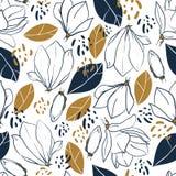 图表木兰开花,芽、叶子和密林斑点 导航在深刻的蓝色和芥末颜色的时髦无缝的样式 免版税库存照片
