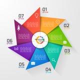 图表的,图风车样式圈子infographic模板 免版税库存图片