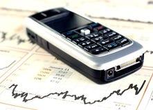 图表移动电话股票 免版税库存照片