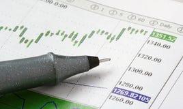 图表笔股票 库存照片