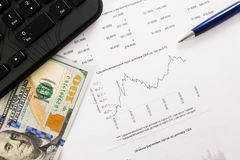 图表美元动力汇率 美元和欧洲图 库存图片