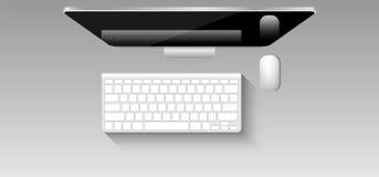 图表设计师工作场所,老鼠,键盘顶视图大模型, 免版税库存照片