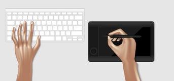 图表设计师工作场所,键盘,图表顶视图大模型  免版税图库摄影