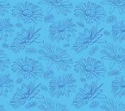 图表雏菊无缝的花卉样式 库存例证
