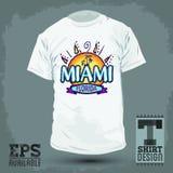 图表T恤杉设计-迈阿密佛罗里达 皇族释放例证