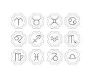 图解占星术标志,线艺术装饰样式 向量例证