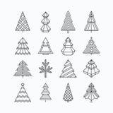 图解圣诞树集合 皇族释放例证