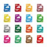 图象文件格式,文件扩展名,平的五颜六色的象,隔绝在白色背景 库存图片
