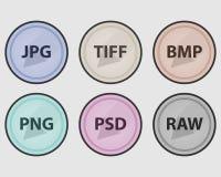 图象文件的类型 色的图标被设置的向量 库存图片